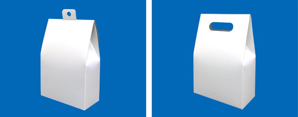 フック付きの上が三角の箱、手提げ風の上が三角の箱