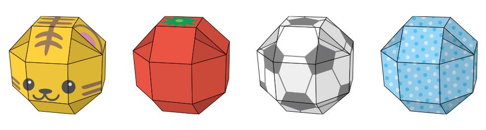 ボール型、球体の箱のデザイン例