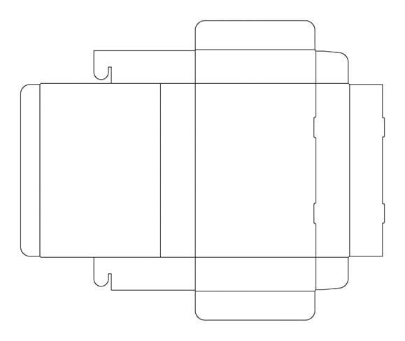 フタ身一体(N式)箱の展開図