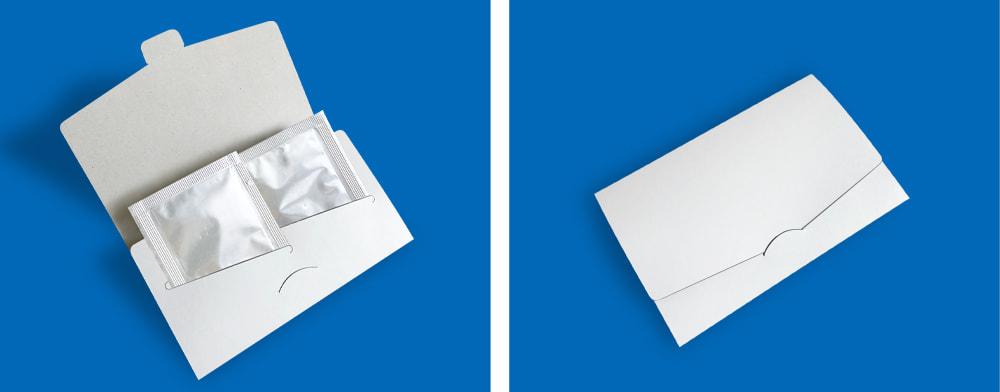 化粧品などの試供品パウチを差し込む、サンプル配布用パッケージ